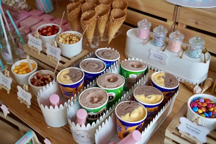 Ice Cream Buckets inside White Metal Bins from an Ice Cream Shop Birthday Party on Kara's Party Ideas | KarasPartyIdeas.com (9)