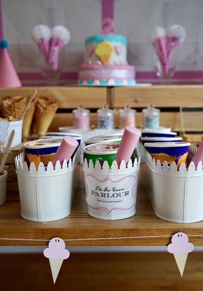 Ice Cream Buckets inside Metal Bins from an Ice Cream Shop Birthday Party on Kara's Party Ideas | KarasPartyIdeas.com (7)