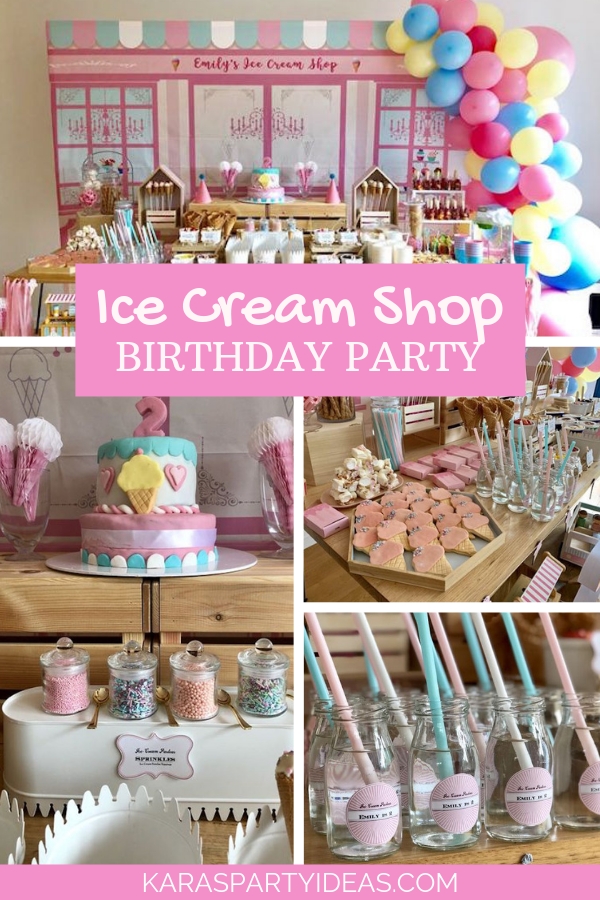 Ice Cream Shop Birthday Party via Kara's Party Ideas - KarasPartyIdeas.com