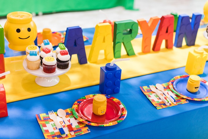 Lego Tabletop + Table Settings from a LEGO Birthday Party on Kara's Party Ideas | KarasPartyIdeas.com (6)