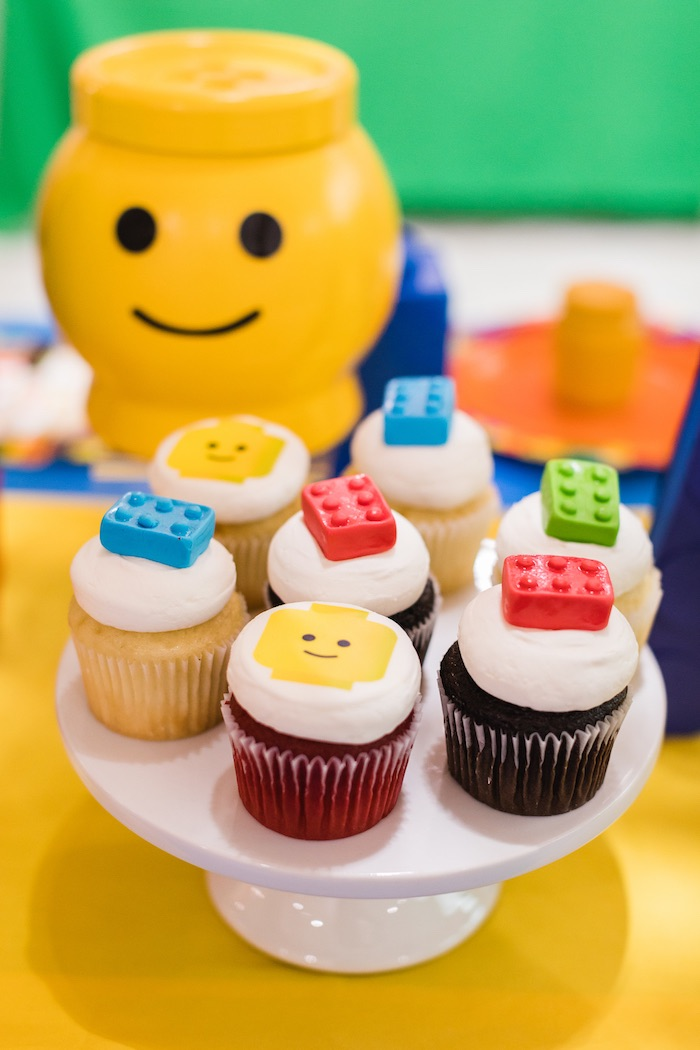 Lego Cupcakes from a LEGO Birthday Party on Kara's Party Ideas | KarasPartyIdeas.com (5)