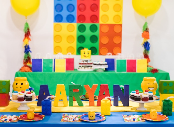 Lego Party Table from a LEGO Birthday Party on Kara's Party Ideas | KarasPartyIdeas.com (4)