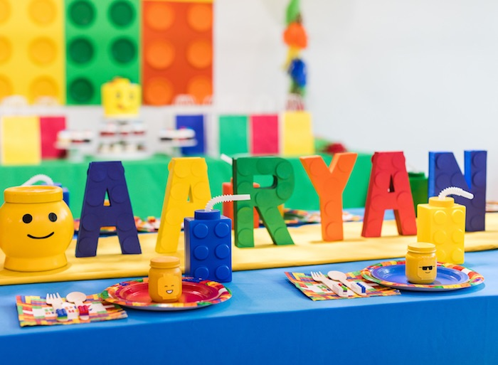 Lego Themed Party Table from a LEGO Birthday Party on Kara's Party Ideas | KarasPartyIdeas.com (14)