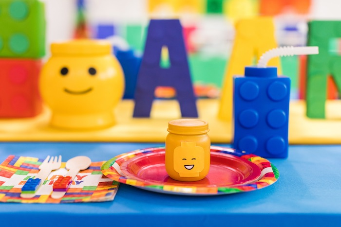 Lego Themed Table Setting from a LEGO Birthday Party on Kara's Party Ideas | KarasPartyIdeas.com (13)