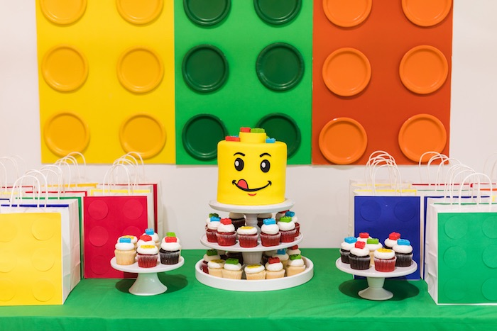 Lego Cake Table from a LEGO Birthday Party on Kara's Party Ideas | KarasPartyIdeas.com (11)