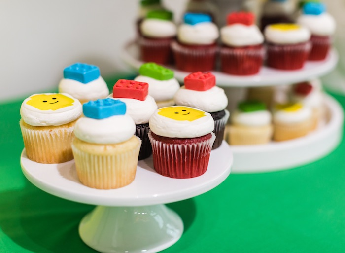 Lego Cupcakes from a LEGO Birthday Party on Kara's Party Ideas | KarasPartyIdeas.com (10)