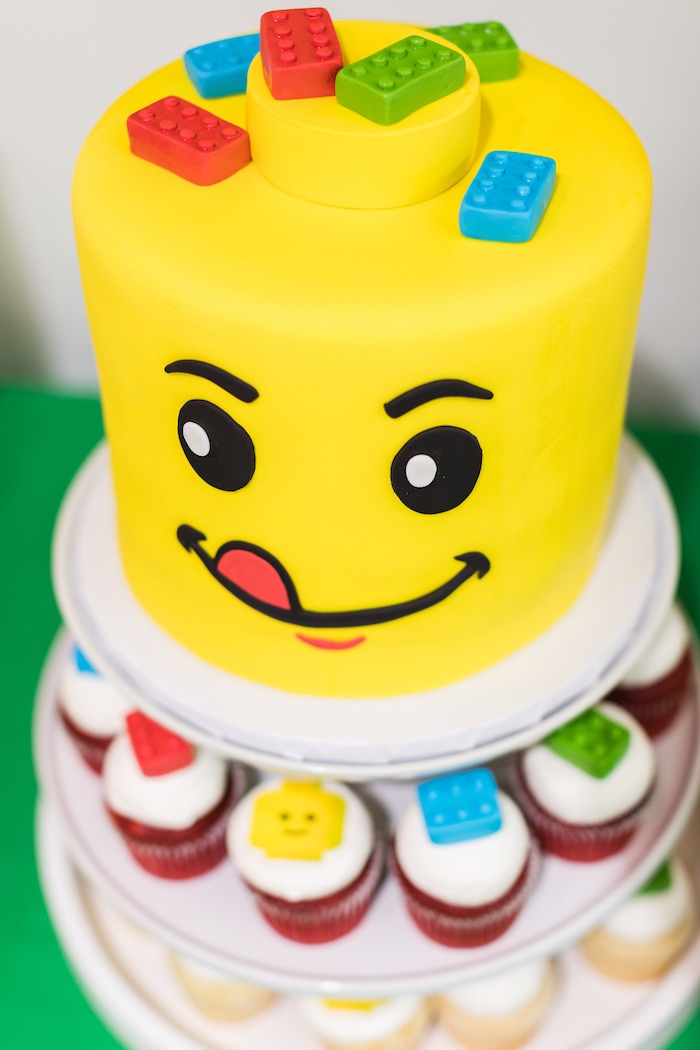 Lego Face Cake from a LEGO Birthday Party on Kara's Party Ideas | KarasPartyIdeas.com (8)