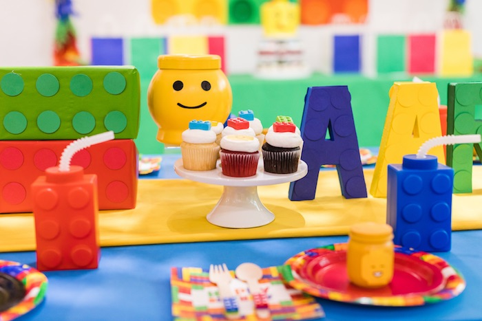 Lego Party Decorations + Centerpieces from a LEGO Birthday Party on Kara's Party Ideas | KarasPartyIdeas.com (7)