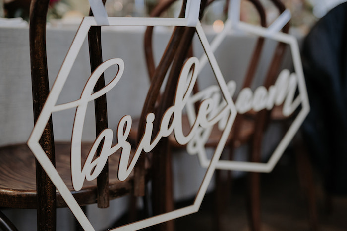 Hexagon - Bride & Groom Chair Signs from a Malaysia to Melbourne Romantic Destination Wedding on Kara's Party Ideas | KarasPartyIdeas.com (5)
