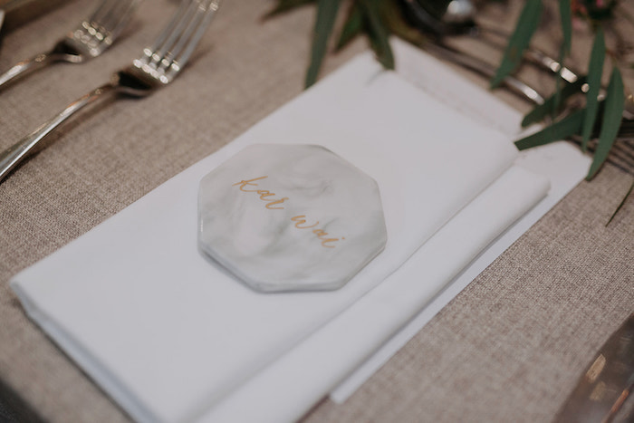Stone Place Card from a Malaysia to Melbourne Romantic Destination Wedding on Kara's Party Ideas | KarasPartyIdeas.com (4)