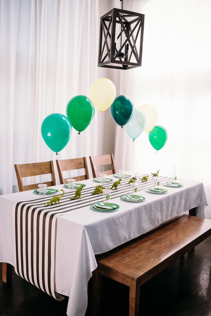 Dinosaur Themed Party Table from a Modern Dinosaur Birthday Party on Kara's Party Ideas | KarasPartyIdeas.com (21)