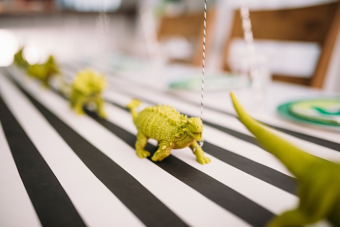 Toy Dino Table Centerpieces from a Modern Dinosaur Birthday Party on Kara's Party Ideas | KarasPartyIdeas.com (20)