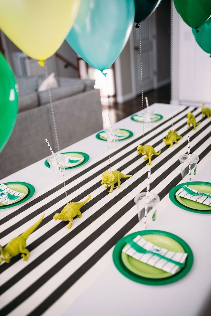 Dino Party Table from a Modern Dinosaur Birthday Party on Kara's Party Ideas | KarasPartyIdeas.com (19)
