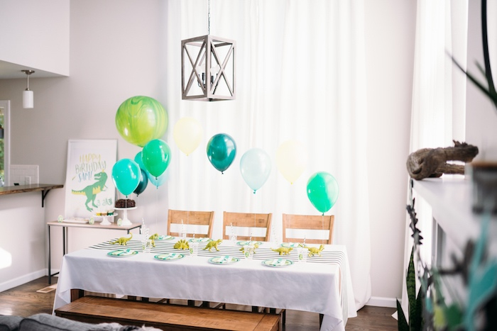 Dinosaur Themed Dining Table from a Modern Dinosaur Birthday Party on Kara's Party Ideas | KarasPartyIdeas.com (17)