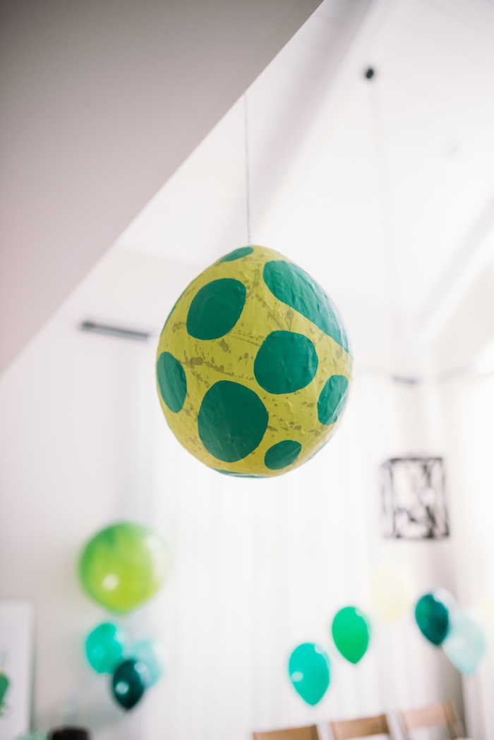Hanging Dinosaur Egg Decoration + Lantern from a Modern Dinosaur Birthday Party on Kara's Party Ideas | KarasPartyIdeas.com (14)