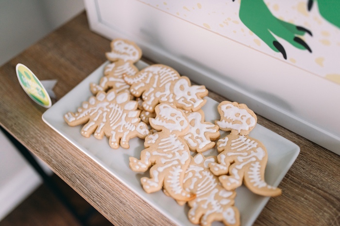 Dinosaur Fossil Sugar Cookies from a Modern Dinosaur Birthday Party on Kara's Party Ideas | KarasPartyIdeas.com (12)