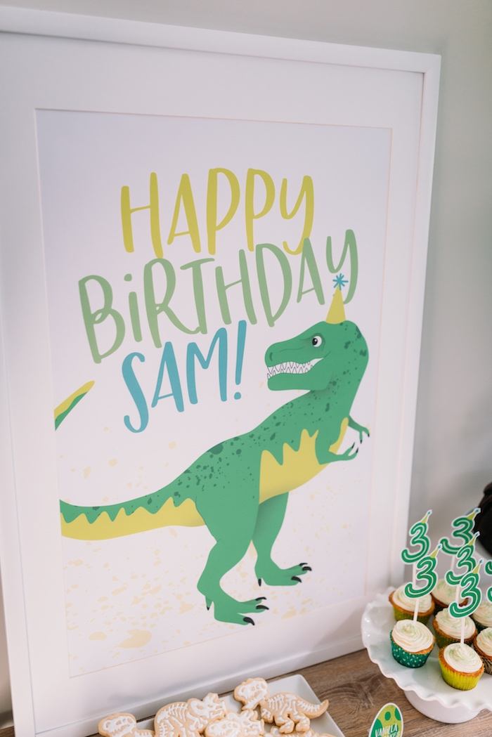Custom 'Happy Birthday' Dinosaur Print from a Modern Dinosaur Birthday Party on Kara's Party Ideas | KarasPartyIdeas.com (7)