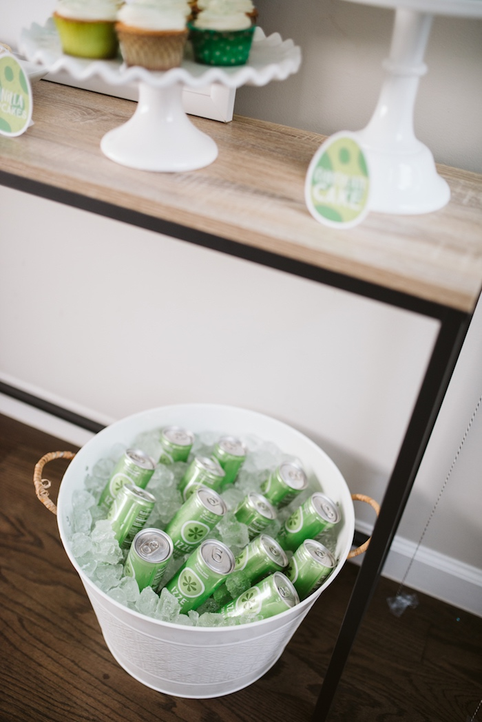 Green Soda Bottles in a White Metal Bin from a Modern Dinosaur Birthday Party on Kara's Party Ideas | KarasPartyIdeas.com (3)