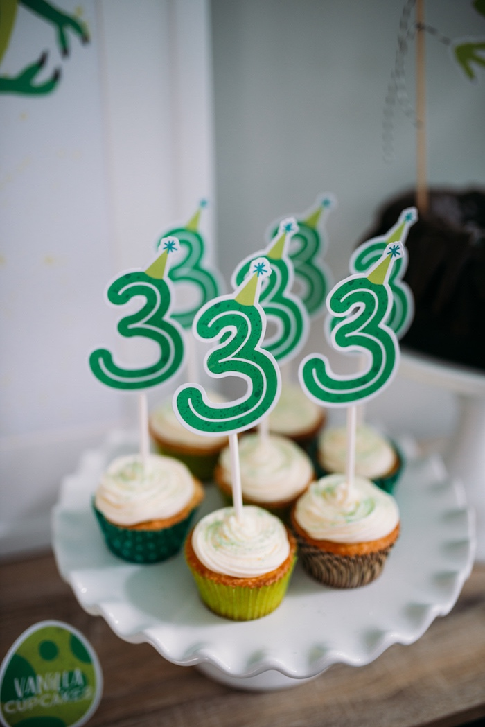 Vanilla Cupcakes with Custom Number Toppers from a Modern Dinosaur Birthday Party on Kara's Party Ideas | KarasPartyIdeas.com (29)