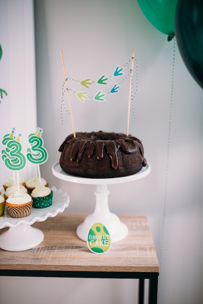 Chocolate Bundt Cake with Dino Track Bunting from a Modern Dinosaur Birthday Party on Kara's Party Ideas | KarasPartyIdeas.com (28)