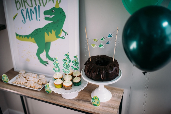 Dinosaur-inspired Dessert Table from a Modern Dinosaur Birthday Party on Kara's Party Ideas | KarasPartyIdeas.com (26)