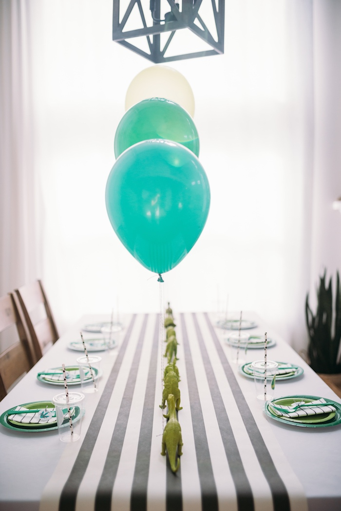 Green + White + Black Party Table from a Modern Dinosaur Birthday Party on Kara's Party Ideas | KarasPartyIdeas.com (25)