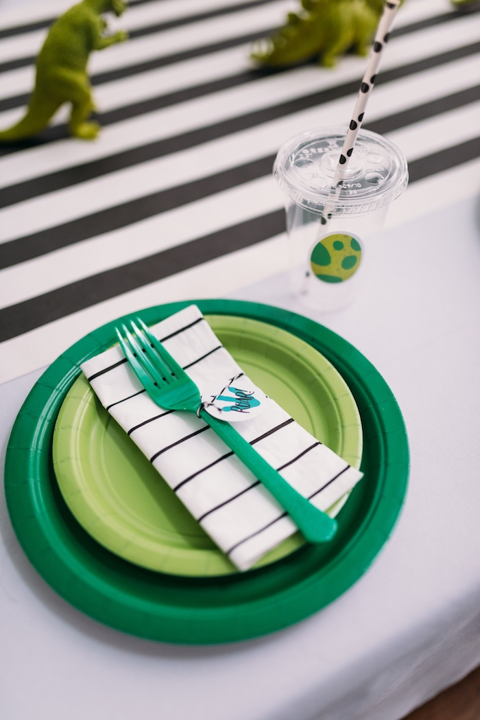 Dinosaur Themed Table Setting from a Modern Dinosaur Birthday Party on Kara's Party Ideas | KarasPartyIdeas.com (24)
