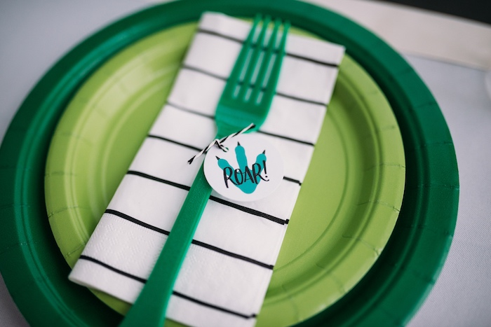 Green Dinosaur Themed Table Setting from a Modern Dinosaur Birthday Party on Kara's Party Ideas | KarasPartyIdeas.com (23)