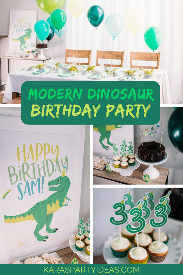 Modern Dinosaur Birthday Party via Kara's Party Ideas - KarasPartyIdeas.com