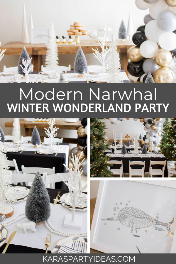 Modern Narwhal Winter Wonderlan Party via Kara's Party Ideas - KarasPartyIdeas.com