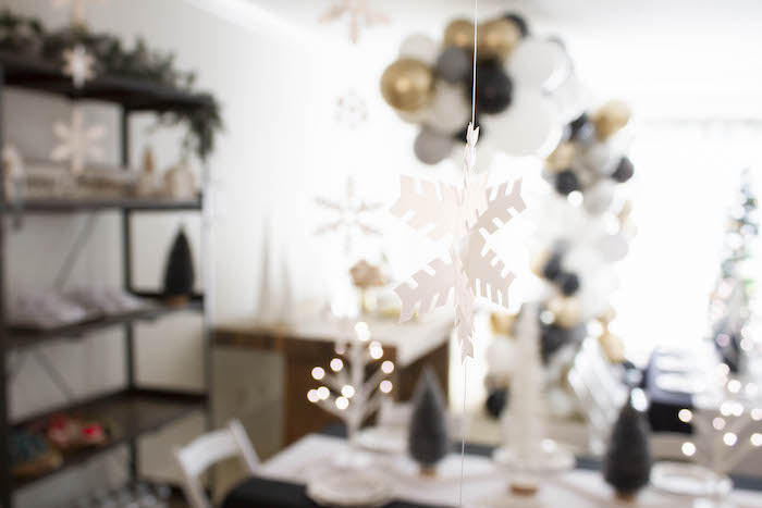 Hanging Snowflake from a Modern Narwhal Winter Wonderland Party on Kara's Party Ideas | KarasPartyIdeas.com (11)