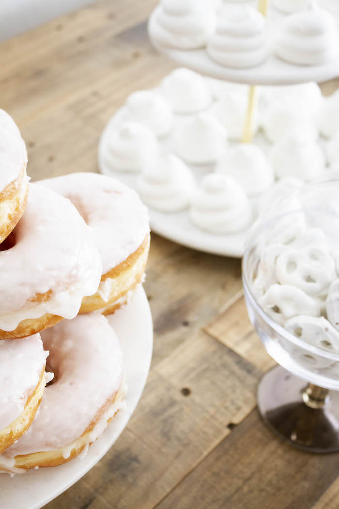 White Glazed Doughnuts from a Modern Narwhal Winter Wonderland Party on Kara's Party Ideas | KarasPartyIdeas.com (8)