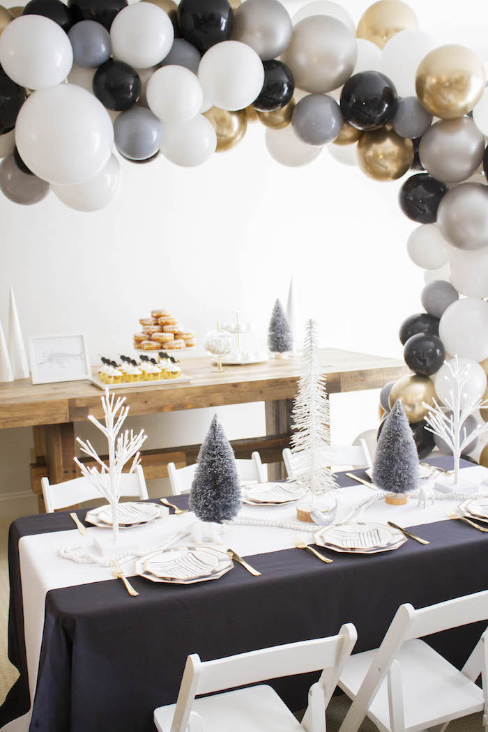 Party Tables from a Modern Narwhal Winter Wonderland Party on Kara's Party Ideas | KarasPartyIdeas.com (5)