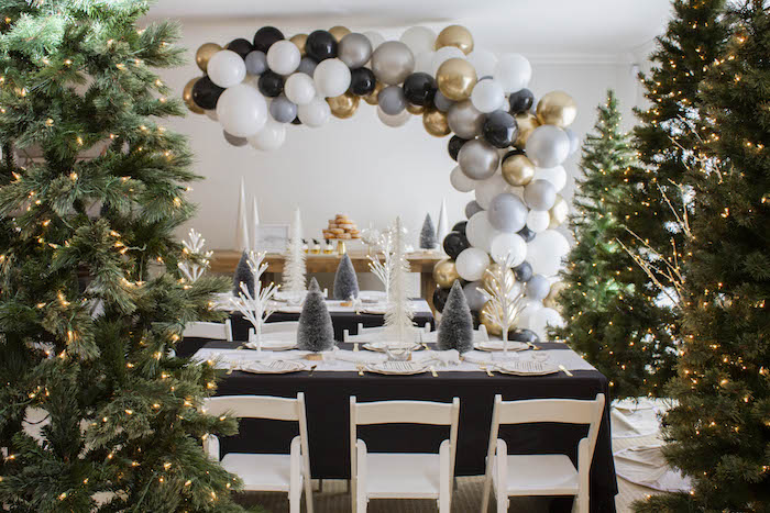 Winter Guest Tables from a Modern Narwhal Winter Wonderland Party on Kara's Party Ideas | KarasPartyIdeas.com (4)