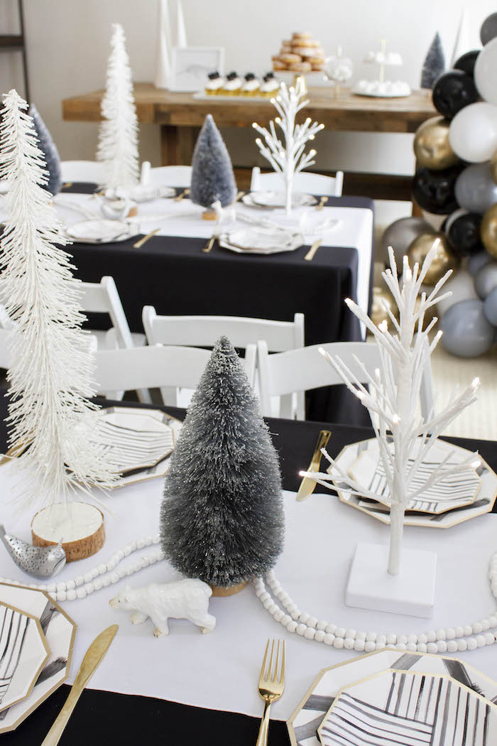 Winter Guest Table from a Modern Narwhal Winter Wonderland Party on Kara's Party Ideas | KarasPartyIdeas.com (3)