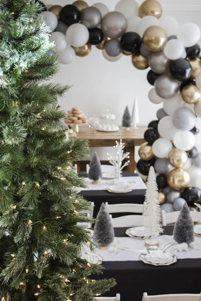 Twinkling Trees & Party Tables from a Modern Narwhal Winter Wonderland Party on Kara's Party Ideas | KarasPartyIdeas.com (20)