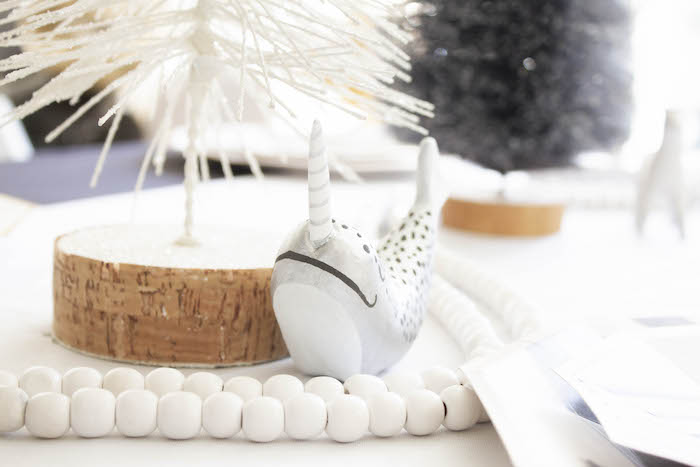 Narwhal Table Centerpiece from a Modern Narwhal Winter Wonderland Party on Kara's Party Ideas | KarasPartyIdeas.com (19)