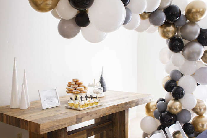 Monochromatic Glam Dessert Table from a Modern Narwhal Winter Wonderland Party on Kara's Party Ideas | KarasPartyIdeas.com (17)