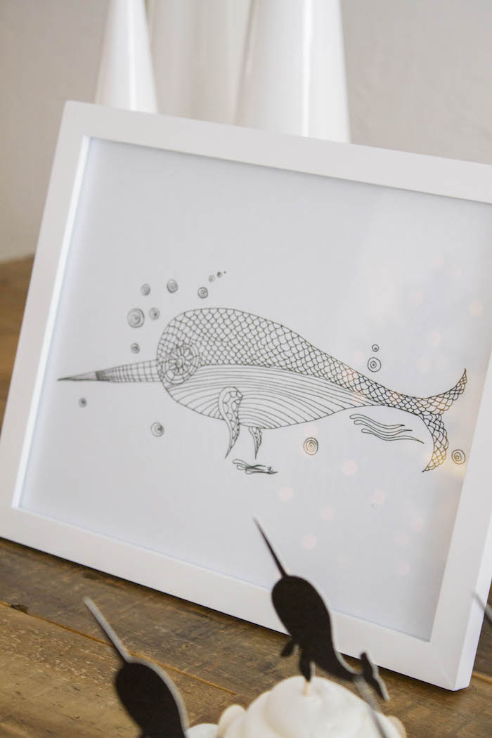 Framed Narwhal Sketch from a Modern Narwhal Winter Wonderland Party on Kara's Party Ideas | KarasPartyIdeas.com (15)