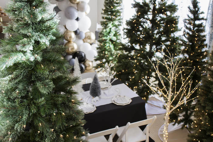 Twinkling Trees from a Modern Narwhal Winter Wonderland Party on Kara's Party Ideas | KarasPartyIdeas.com (13)
