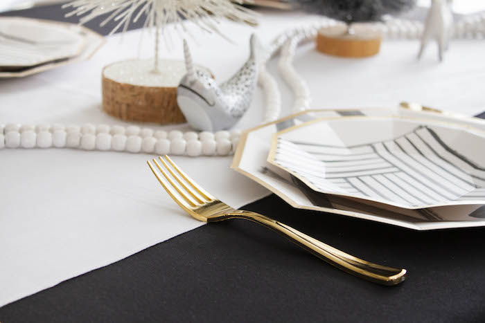 Monochromatic Glam Table Setting from a Modern Narwhal Winter Wonderland Party on Kara's Party Ideas | KarasPartyIdeas.com (12)