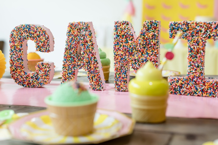 Sprinkle-coated Letters from a Museum of Ice Cream Inspired Birthday Party on Kara's Party Ideas | KarasPartyIdeas.com (6)