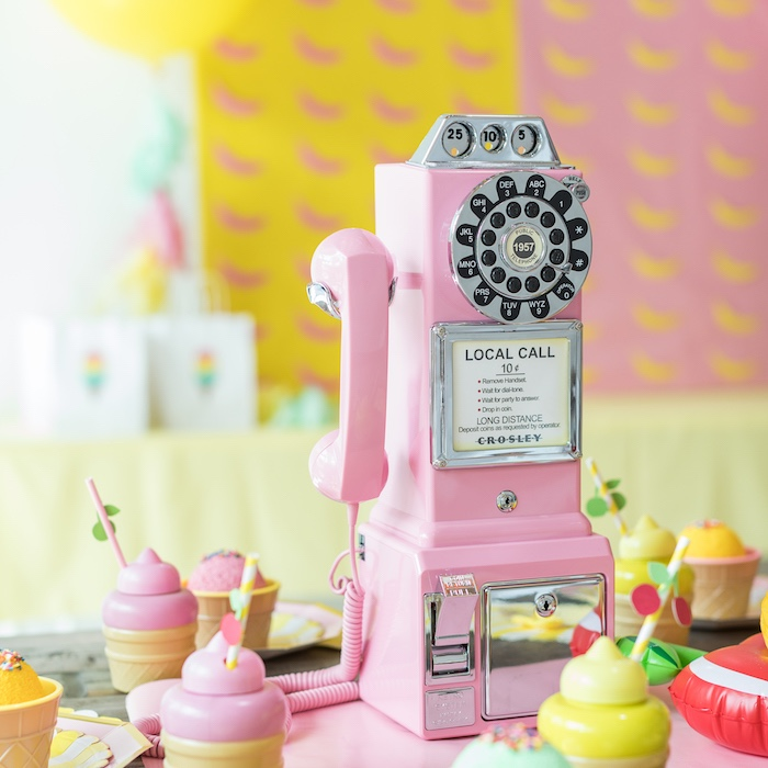 Vintage Pink Rotary Pay Phone from a Museum of Ice Cream Inspired Birthday Party on Kara's Party Ideas | KarasPartyIdeas.com (9)