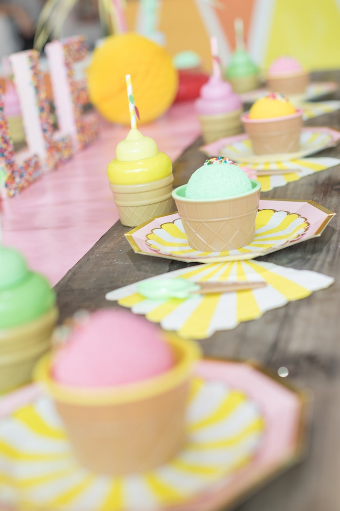 Ice Cream Themed Table Settings from a Museum of Ice Cream Inspired Birthday Party on Kara's Party Ideas | KarasPartyIdeas.com (8)