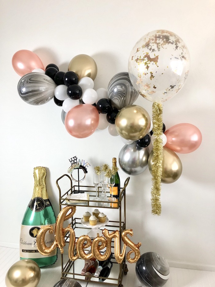 Beverage Cart from a New Year's Eve Drink & Dessert Station on Kara's Party Ideas | KarasPartyIdeas.com (9)