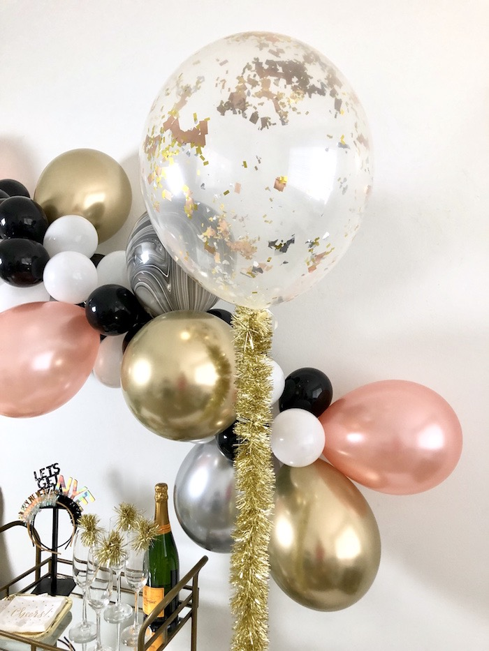 Jumbo Gold Glitter Balloon with Tinsel Tail from a New Year's Eve Drink & Dessert Station on Kara's Party Ideas | KarasPartyIdeas.com (8)