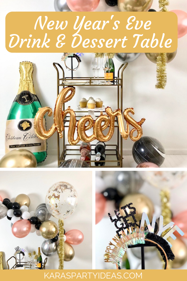 New Year's Eve Drink&Dessert Table via KarasPartyIdeas - KarasPartyIdeas.com