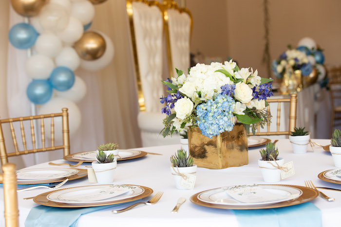 Gold + White Guest Table from an Oh Baby! Glamorous Garden Baby Shower on Kara's Party Ideas | KarasPartyIdeas.com (17)