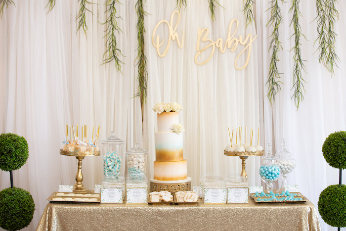 Gold + White Cake Table from an Oh Baby! Glamorous Garden Baby Shower on Kara's Party Ideas | KarasPartyIdeas.com (16)