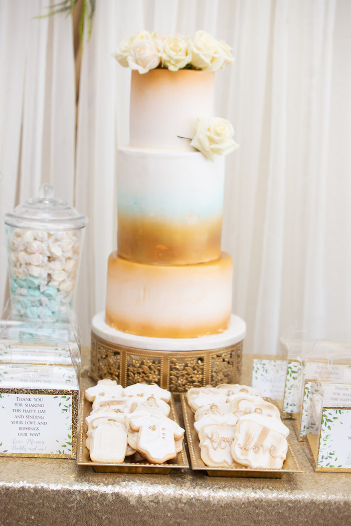 Gold + White Cake Table from an Oh Baby! Glamorous Garden Baby Shower on Kara's Party Ideas | KarasPartyIdeas.com (15)